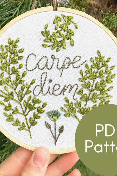 Carpe Diem Hand Embroidery Pattern | Modern Embroidery | Digital Download Pattern | Seize the Day | Botanical Embroidery | Lettering | Fern