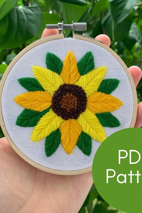 Sunflower Embroidery Pattern | PDF Digital Download | Modern Embroidery Pattern | Instant Download | Flower Pattern | DIY Embroidery Guide