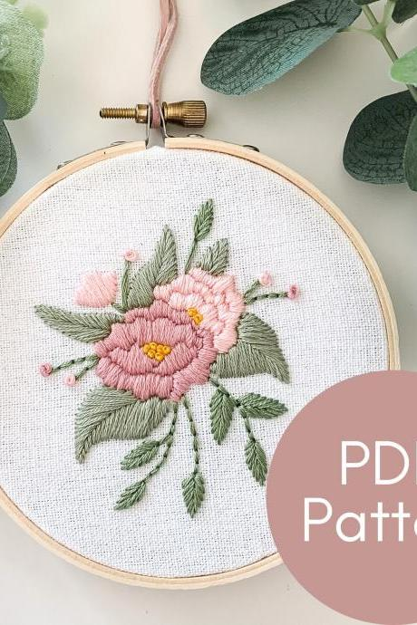 Peonies Hand Embroidery Pattern | Beginner Embroidery | DIY Embroidery Ornament | Floral Hand Embroidery | Modern Embroidery | Peony Art