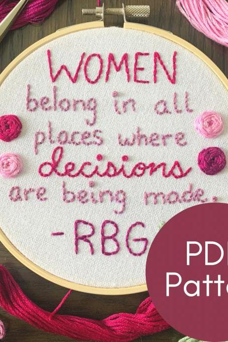 RBG Quote | RBG Embroidery | Hand Embroidery | Beginner Embroidery | Ruth Bader Ginsburg | Feminism Embroidery | Female Empowerment Gift