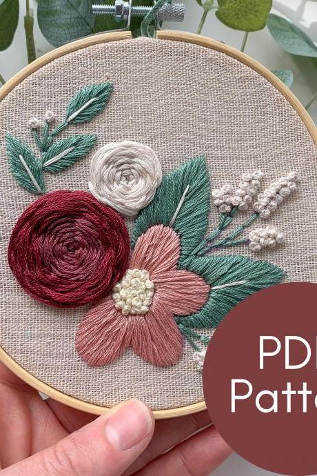 Farmhouse Flowers | Hand Embroidery Pattern | Modern Embroidery | Beginner Embroidery | Rustic Embroidery | DIY Rustic Decor | Floral Design