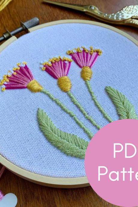 Triangle Flowers Embroidery Pattern | Beginner Embroidery | Digital Download | Embroidery Guide | Modern Embroidery Pattern | DIY Flowers
