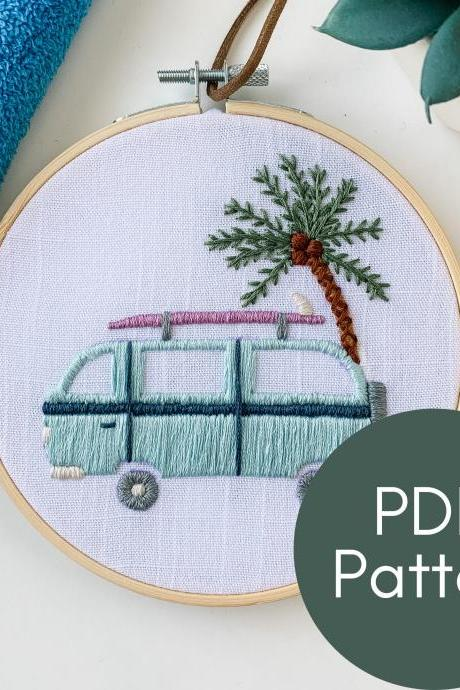 Vacation Van Embroidery Pattern | Summer Hand Embroidery Pattern | Volkswagen Van | Palm Tree | Van Life Embroidery | Modern Embroidery