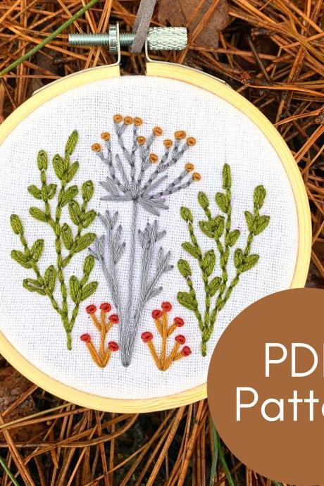 Wildflowers Hand Embroidery Pattern | Beginner Embroidery | Nature Embroidery | Floral Embroidery Pattern | Embroidery Guide | Botanical