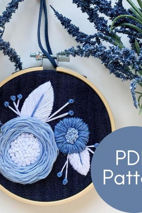 Fluffy Blue Blooms Hand Embroidery Patterns | Modern Embroidery | Beginner Embroidery | Floral Embroidery | Blue Florals | DIY Embroidery
