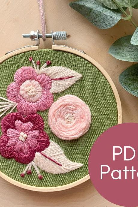 Pink Delight | Hand Embroidery Pattern | Floral Embroidery | Beginner Embroidery | Spring Embroidery Pattern | Rustic Embroidery | Cute Art