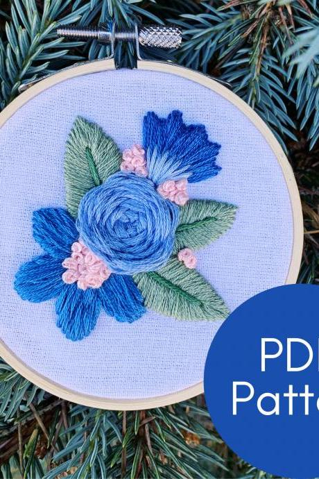 Blue Rose Embroidery Pattern | Printable Instant Download Pattern | Modern Embroidery | Floral Embroidery Pattern | DIY Embroidery | Guide