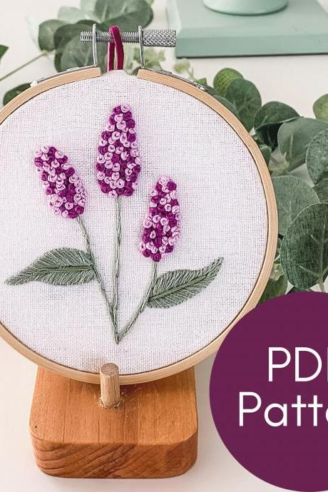 Lilacs Hand Embroidery Pattern | Modern Embroidery | French Knots | Embroidery Guide | Floral Embroidery Pattern | Lilac Flowers | DIY Lilac