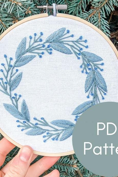 Winter Wreath Embroidery Pattern | Hand Embroidery Pattern | Botanical Embroidery | Christmas Embroidery | Beginner Embroidery | Wreath Art.